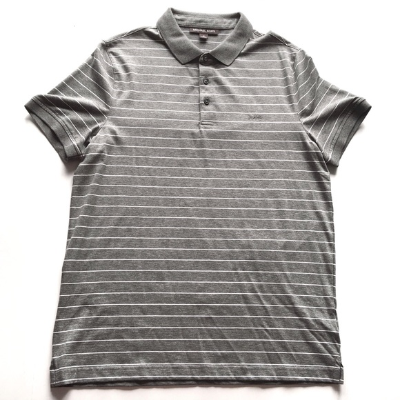 fb238e11 Michael Kors Shirts | Mens Gray Striped Polo C2 | Poshmark